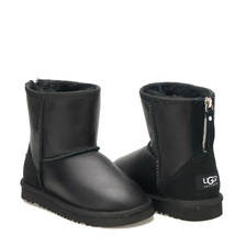 Угги UGG Kids Classic Short Zip Metallic Black